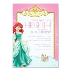 Custom Disney Princess Ariel It's a Girl Baby Shower Custom Invitation created by disney. This invitation design is available on many paper types and is completely custom printed. Disney Princess Babies, Disney Princess Party, Baby Shower Princess, Baby Princess, Baby Disney, Disney Boys, Baby Shower Invitation Cards, Baby Shower Invites For Girl, Baby Shower Cards