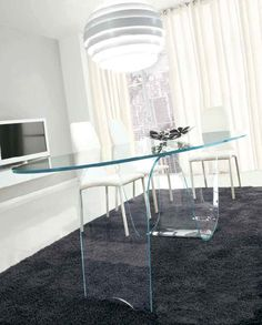 A Superb Modern Glass Dining Table With An Exquisite Bent Glass Base.  Infinity By Unico