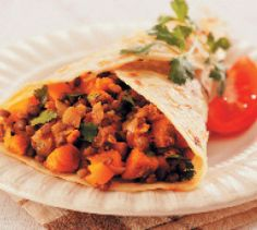 A warming and spicy curried butternut and lentil roti that vegetarians will love. Lamb Curry, Lentil Curry, New Recipes, Vegetarian Recipes, Dinner Recipes, Dinner Ideas, South African Recipes, Ethnic Recipes, Perfect Food