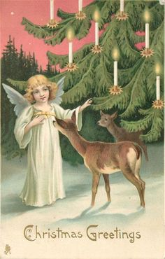 Vintage Christmas Greetings Post Card, A Young Angel With Deer