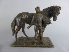 ANCIENNE STATUE REGULE HOMME ET CHEVAL JOCKEY 1900 DEBUT 20EME SIECLE | eBay