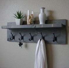 Maiselle Coat Rack with Floating Shelf Rustic Weathered Gray 5 Hanger Hook Coat Rack with Floating Shelf Wall Shelf With Hooks, Hanging Shelves, Floating Shelves, Wall Shelves, Ikea Shelves, Coat Rack With Shelf, Coat Hook Shelf, Hat Shelf, Floating Wall