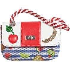 Girls Red Bag with Tropical Fruit Print (14cm), Monnalisa, Girl