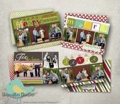 Christmas Card PHOTOSHOP TEMPLATE - Family Christmas Cards Grinch 4 Pack by SugarfliesDesigns on Etsy