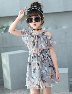 Kids Girls Sweet Daily Holiday Beach Butterfly Print Sleeveless Cotton Dress Gray 2019 - US 12 28 Frocks For Girls, Kids Outfits Girls, Little Girl Dresses, Girl Outfits, Girls Dresses, Kids Girls, Fashion Kids, Little Girl Fashion, Cheap Fashion