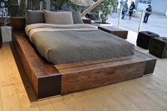 the edge bed - reclaimed wood platform