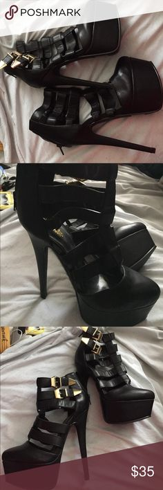 Heels by Charlotte Russe SZ 8 SZ 8 Charlotte Russe with about a 5inch heel and rear zipper Charlotte Russe Shoes Heeled Boots