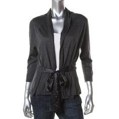 HUGO BOSS Black Silk Heathered Tie Front Cardigan Sweater Top L BHFO