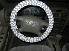 Gray and White Chevron Steering Wheel Cover