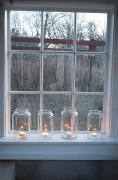 soooo simple yet beautiful. would love for outdoor party or around the holidays at a house. the large jars with small lights are too beautiful