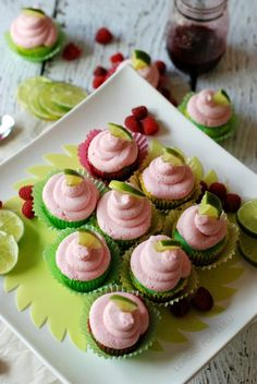 Lime Cupcakes with Raspberry Cupcakes | lemonsforlulu.com