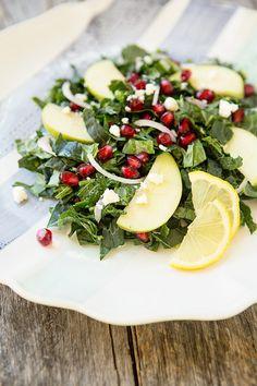 Apple Pomegranate Kale Salad with Lemon Vinaigrette - Simple Bites