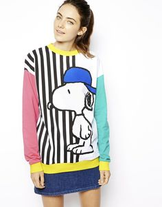 ASOS Sweatshirt with Skater Snoopy Stripes Snoopy Sweater 76ac583217e