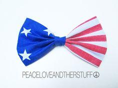 Handmade American Flag Hair Bow