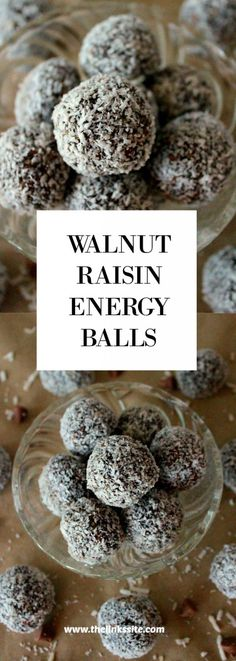 These Walnut Raisin Energy Balls are very quick and easy to make. You simply blitz everything up in the food processor and then roll them in coconut!