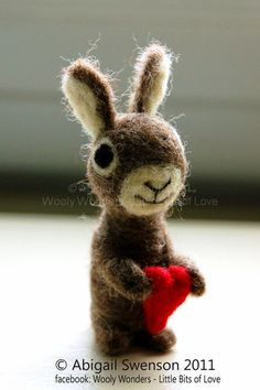 The Love Bunny Rabbit with Heart  Velveteen rabbit   by AdoraWools, $40.00  #littlestyleeaster