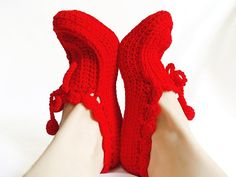 Red crochet slippers Cozy slippers Thick house slippers by aynikki, $18.75