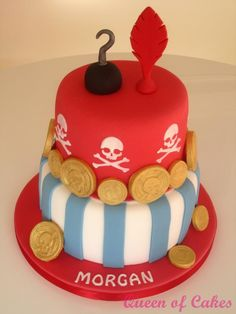 A Captain Hook/Peter Pan/Treasure inspired birthday cake by Queen of Cakes
