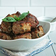 Caprese Meatballs (Low Carb and gluten free) from I breath I'm hungry). #gluten_free, #low_carb