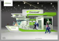 An open, vibrant booth design for an Health care solution firm which effectively displays number of products and information.