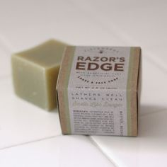 Razor's Edge Face and Shave Soap. All-natural and slick as hell, with bentonite clay. By Fieldworks Supply Company, Portland, Ore. Product No. 1953, the year Sir Edmund Hillary and Tenzig Norgay became the first people to summit Mt. Everest.