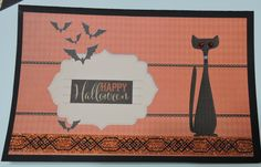 Halloween Card, Silhouette Cameo cat, and printed paper details