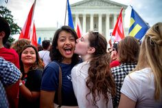 "26 June 2015: Gay Marriage Backers Win Supreme Court Victory | ""WASHINGTON — In a long-sought victory for the gay rights movement, the Supreme Court ruled on Friday that the Constitution guarantees a right to same-sex marriage.  Justice Anthony M. Kennedy wrote the majority opinion in the 5 to 4 decision. He was joined by the court's four more liberal justices."" #lovewins #marriageEquality"