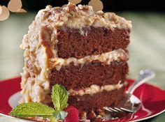 CHOCOLATE VELVET CAKE WITH COCONUT-PECAN FROSTING