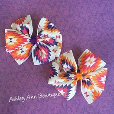 Aztec Purple Pink and Orange Pinwheel Hair by AshleyAnnBowtique
