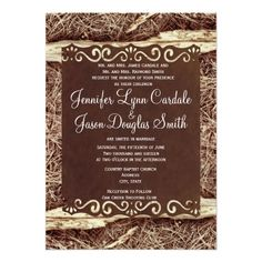 Camo Hunting Pine Needles and Wood Wedding Invitations  #country #wedding #camo