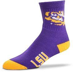 For Bare Feet Adult LSU Tigers Team Color Quarter-Crew Socks