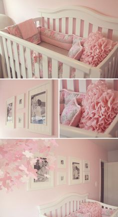 Pink and gray nursery, white nursery, pink grey, girl nursery, nurs Baby Bedroom, Nursery Room, Girl Nursery, Girls Bedroom, Nursery Decor, Baby Rooms, Nursery Ideas, Room Ideas, Pink And Gray Nursery