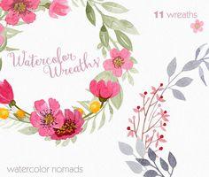 Clipart Couronne de fleurs aquarelle clipart clipart