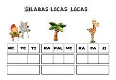 Vocabulario, jugar con las sílabas. Juego de educación infantil para trabajar con imágenes y sus sílabas