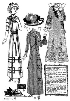 October 17, 1909.  Anna Belle's sister MARY from Newspaper Series Anna Belle Paper Dolls.