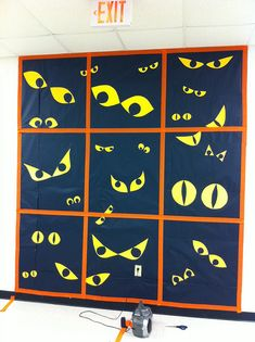 This gave me an idea- black paper, cut eye slits in it, put glow sticks or whatever behind it. Put on window for Halloween This gave me an idea- black paper, cut eye slits in it, put glow sticks or whatever behind it. Put on window for Halloween Halloween Classroom Door, Halloween Bulletin Boards, Theme Halloween, Halloween Door Decorations, Halloween Displays, School Decorations, Halloween Window Display, Halloween Art Projects, Halloween Eyes