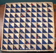 """Lily Patch Quilts: Tabletopper and Tutorial-by Kim...This is just siimple half square triangles like I did the mug rugs, except I didn't feel like marking all the diagonal lines, so I just took my 3"""" strips and started working on it."""