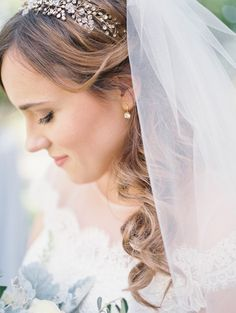 Soft grey, blue and sage green inspired real wedding - hairpiece