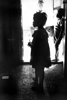 Eve Arnold, A Migrant Potato Picker's Child on Her First Day of School, Long Island, NY, 1951