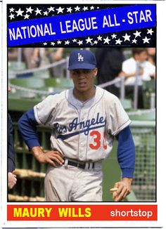 1966 Topps Maury Wills All Star, Los Angeles Dodgers, Baseball Cards That Never… Dodgers Nation, Dodgers Baseball, Baseball Games, Baseball Players, Pro Baseball, Baseball Savings, Baseball Uniforms, Baseball Quotes, Baseball Jerseys