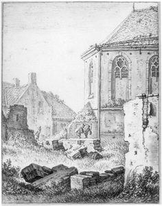 Herman Saftleven, Gezicht op de beschadigde gebouwen, waaronder de kapel, van het St.-Jobsgasthuis aan de Vleutenseweg te Utrecht, 1674.