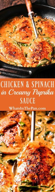 Chicken and Spinach in Creamy Paprika Sauce is an easy to make one-pan dish that is amazing in flavor from dry white wine and sauteed garlic. The delicious paprika sauce is creamy and buttery, with a mild tang from the fresh lemon juice. #dinner #castiron, #skilletchicken