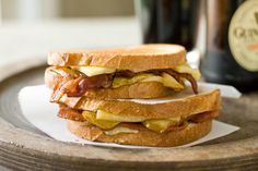 Recipes For One on a George Foreman Grill - Naan or Flatbread Pizza, Patty Melts, Hot Dogs, Grilled Veggies, Panini - Pictured: Bacon Pear Panini - Relish