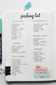 20 Best Packing List Ideas For Bullet Journal Addicts - Crazy Laura - - Getting ready for your next weekend trip or vacation? Add a packing list to your bullet journal so you can keep track of everything you need to bring! Bullet Journal Vacation, Bullet Journal Packing List, Bullet Journal Notebook, Bullet Journal Ideas Pages, Book Journal, Trip Journal, Bullet Journal Essentials, Travel Journal Pages, Travel Journals