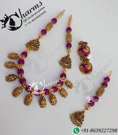Temple jewelry Silk Thread Bangles Design, Silk Thread Necklace, Beaded Necklace Patterns, Thread Jewellery, Jewelry Patterns, Beaded Earrings, Gold Temple Jewellery, India Jewelry, Ethnic Jewelry