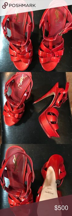 YSL red paten leather platform heels Not ever worn, sexy, chic heels! Your feet will be the first to walk & Look so pretty in! Yves Saint Laurent Shoes Heels