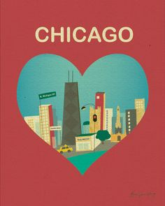 Chicago and Heart - Travel Poster Print Art - style E8-O-CHI4. $26.00, via Etsy.