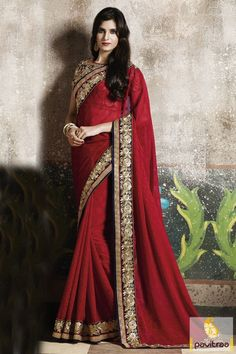 Fashionable #red color chiffon ethnic wear designer saree online shopping with discount offer. Grab this new style wedding wear saree for engagement ceremony. #saree, #partywearsaree, #weddingsaree, #sari, #indianweddingsaree, #designersaree, #sareewithblouse, #sarees, #Indiansaree, #receptionsaree, #sareesonlineshopping, #fashionsaree, #latestsaree, #designercollection More: http://www.pavitraa.in/store/chiffon-saree/ Any Query: Call Us:+91-7698234040 E-mail: info@pavitraa.in