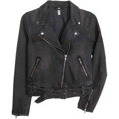 Denim biker jacket (€16) ❤ liked on Polyvore featuring outerwear, jackets, denim jacket, zipper jacket, moto zip jacket, zip jacket and zippered denim jacket