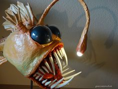 Angler Fish Light, Paper Mache Crafts, Paper Mache Sculpture, Faux Taxidermy, Welding Art, Paper Clay, Monster, Clay Projects, Doll Toys